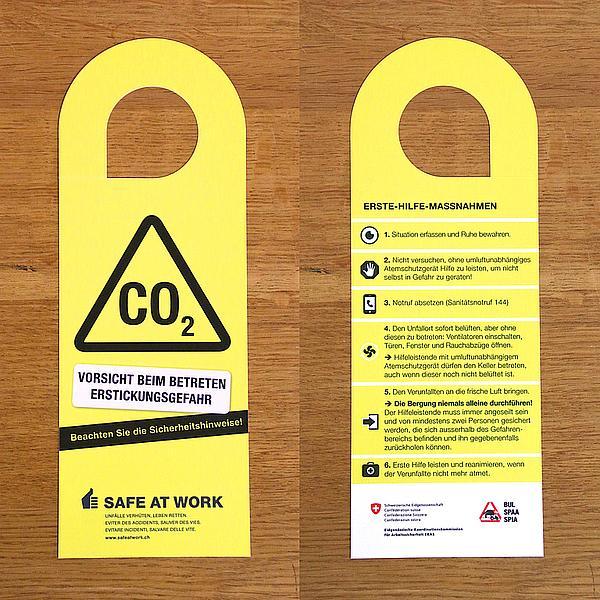Weinkeller CO2 Gefahr Türhänger